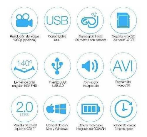 camara 4k deportes accesorios ultra hd wifi sumergible loi