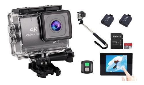 cámara 4k táctil wifi 16mpx (micro 32gb, 2 baterías, monod)