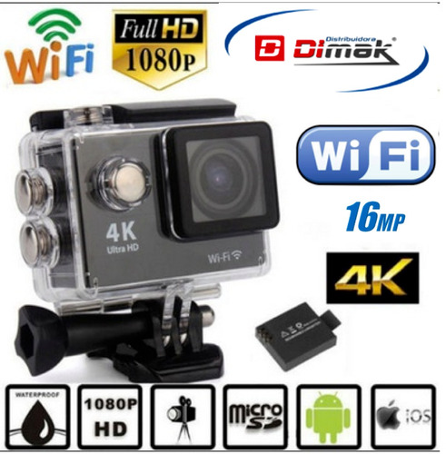 camara 4k ultra hd de accion /wifi / 16mp, tipo go pro