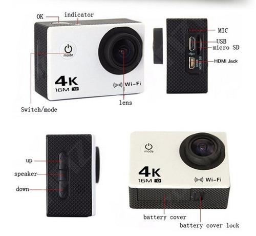 camara 4k ultra hd deportiva acuatica wifi 16mp