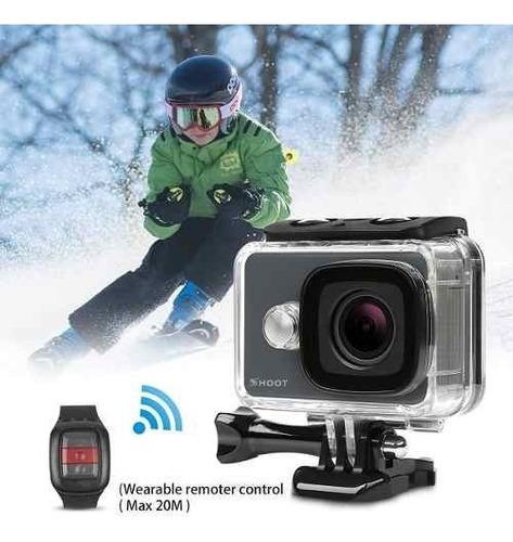 camara acción shoot 4k wifi 14mp kit control cargador grip