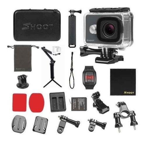 camara acción shoot 4k wifi 14mp kit maletin palo 3 en 1