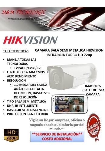 camara bala hikvision hd 720 lente 3.6 alcance 40 metros