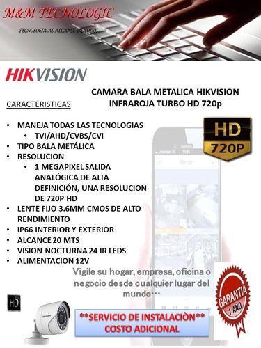 camara bala metalica hikvision hd 720p lente 3.6mm 24 leds