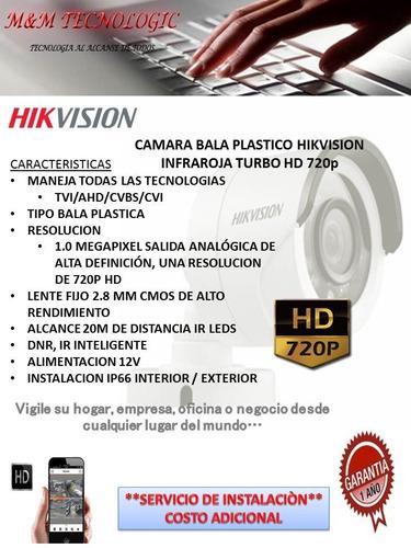 camara bala plastico hikvision hd 720p lente 2.8mm 24 leds