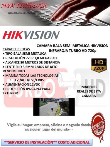 camara bala semi metalica hikvision  80 metros hd 720 3.6mm