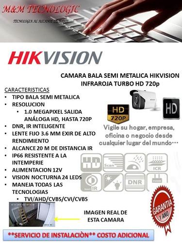 camara bala semi metalica hikvision hd 720lente 3.6mm exir