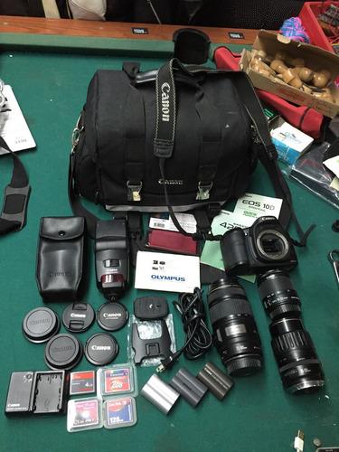 camara canon 10d flash 3 objetivos 3 pilas maleta todo canon