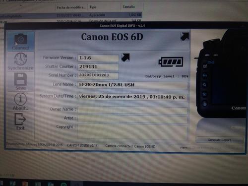 camara canon 6d full frame 24-70  f/2.8