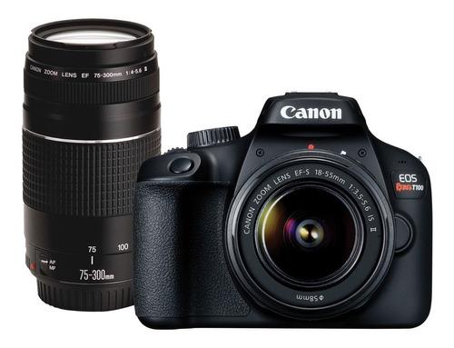 cámara canon eos rebel t100 (combo 49) lentes 18-55 y 75-300