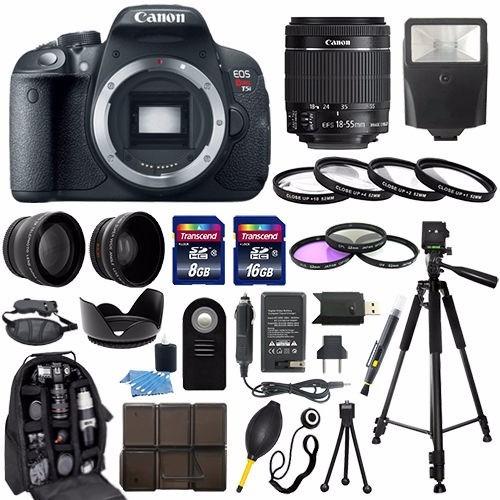 camara canon eos rebel t5i + 18-55mm stm lens+ kit
