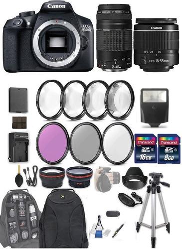 cámara canon eos rebel t6 / 1300d lentes 18-55 y 75-300 kit