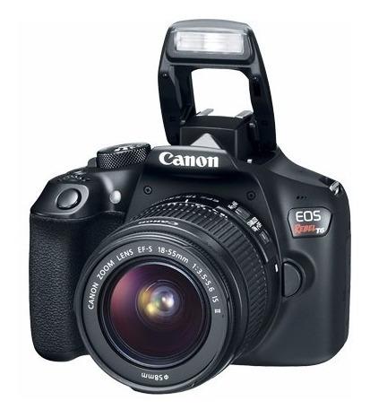cámara canon eos rebel t6 18mp lente 18 55 + tripie + maleta