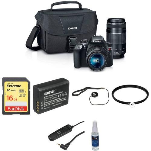 cámara canon eos rebel t6 con 18-55mm y 75-300mm lentes
