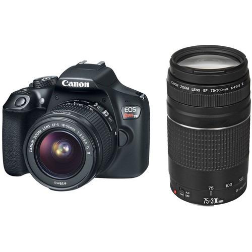 cámara canon eos rebel t6 con 18-55mm y 75-300mm lentes kit