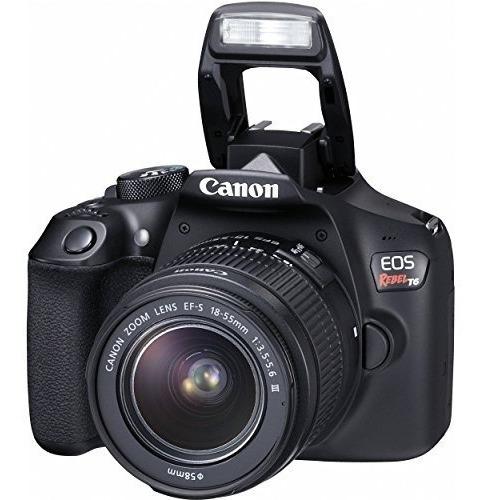 cámara canon eos rebel t6 dslr con ef-s 18-55 mm f / 3.5-5.