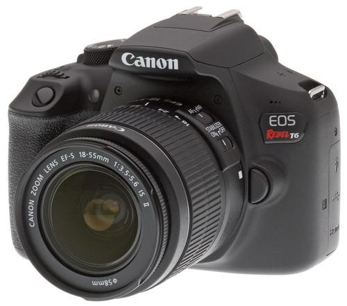 cámara canon eos rebel t6 lente 18-55 + lente 75-300 tripie