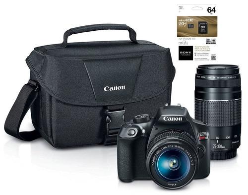 cámara canon eos rebel t6 lentes 18-55, 55-250, maleta y sd