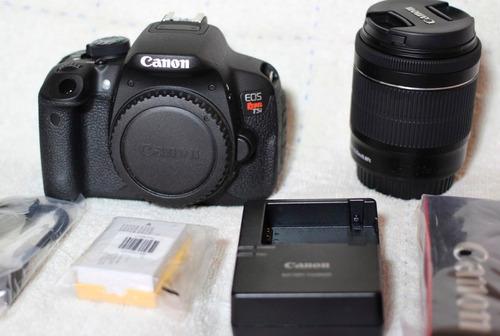 camara canon eos t5i + lente 18-135mm 18 mp / touch / fullhd