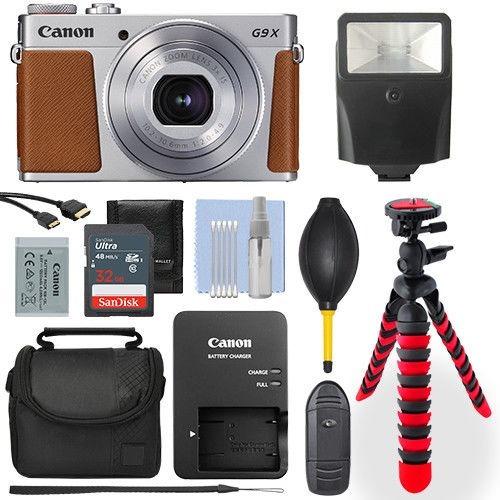 cámara canon g9x mark ii kit, flash maleta + accesorios