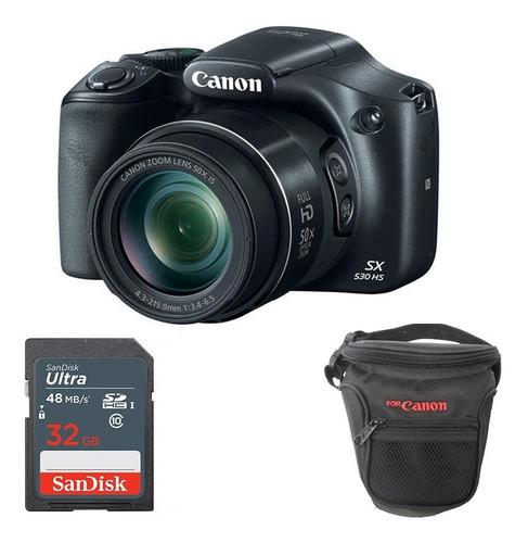 cámara canon powershot sx530 hs + 32gb estuche.