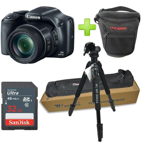 cámara canon powershot sx530 hs + 32gb estuche + trípode .