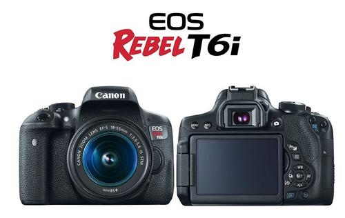 cámara canon rebel t6i 18-55mm 24 megapixeles
