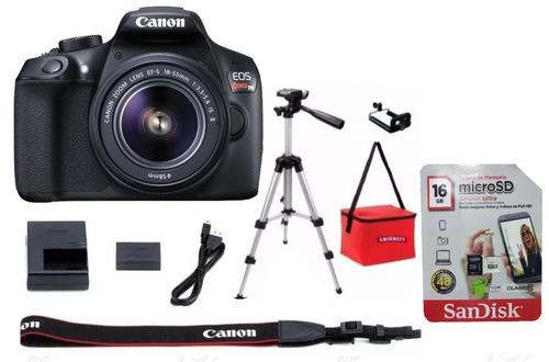 camara canon reflex rebel t6 kit lente 18-55 + tripie + 16gb