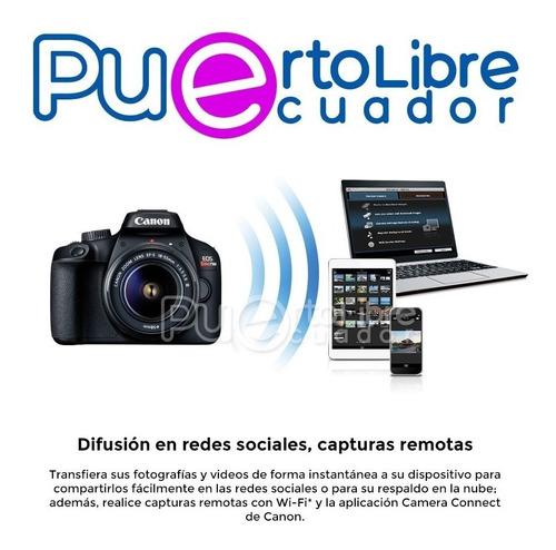 camara canon t100 t6 profesional + lente maleta + memoria