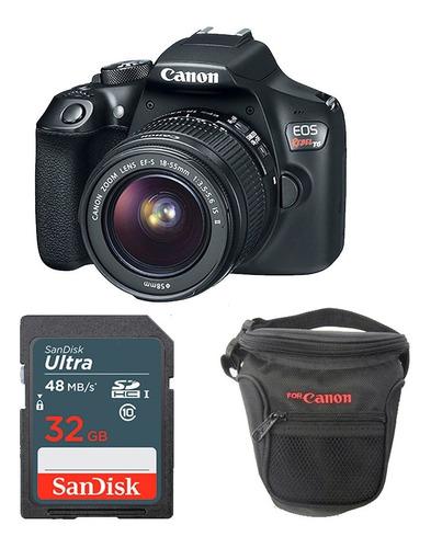 cámara canon t6 kit 18-55mm + 32gb + estuche