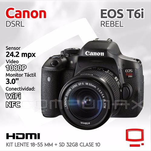 camara canon wifi t6i 18-55 con garantía + memoria 32gb c10