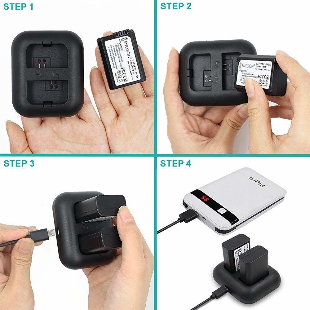 Alpha Series y m/ás ENEGON Bater/ía de Repuesto Compatible con Sony NEX 3//5//7 y Cargador r/ápido r/ápido para Sony NP-FW50 Paquete de 2 SLT-A
