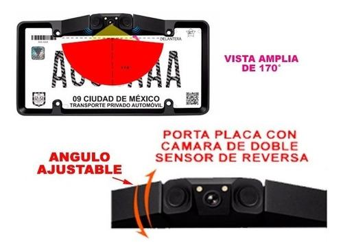 camara con doble sensor de reversa en portaplaca