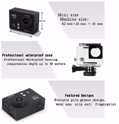 cámara de acción 1080p camara de acción wifi, full hd
