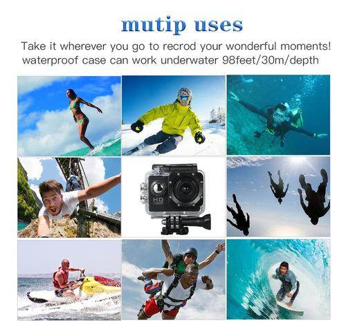 cámara de acción deportiva impermeable p/grabar bajo el agua
