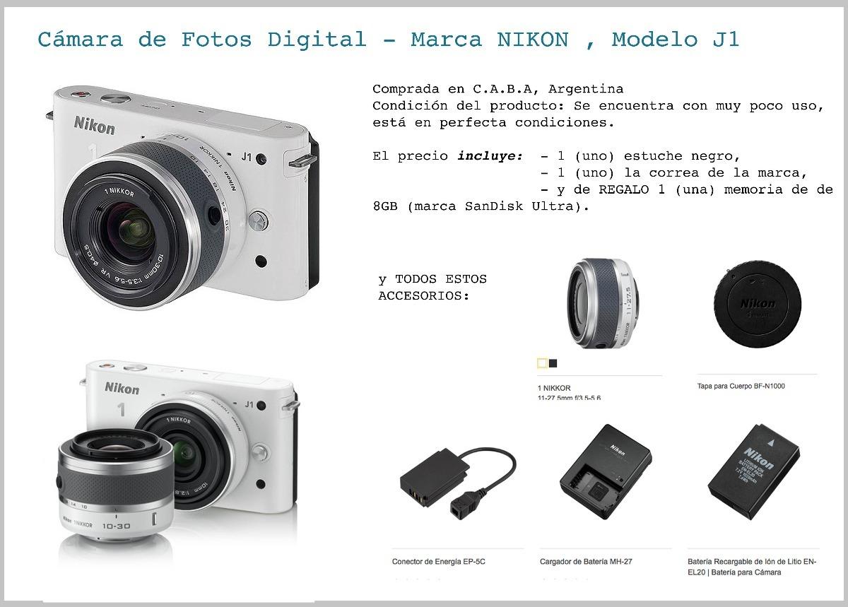 Cámara De Fotos Digital Modelo Nikon 1 J1 - $ 3.999,00 en Mercado Libre