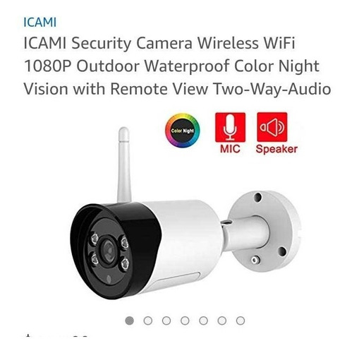cámara de seguridad icami wifi inalámbrica 1080p color imper