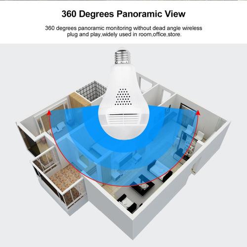 camara de seguridad tipo bombillo vista remota 360 grados