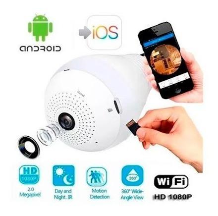 cámara de seguridad wifi con foco, visión remota pano 360°