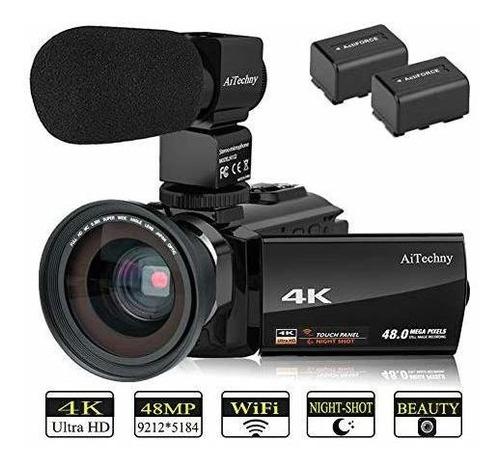 cámara de video aitechny 4k camcorder (con micrófono y lente