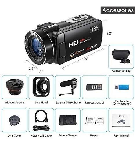 cámara de vídeo ordro 1080p /30fps full hd con videocámara