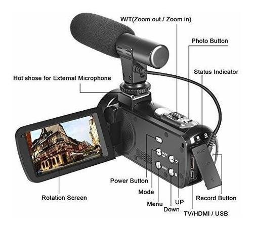 cámara de video vlogging con micrófonofull hd 1080p videocám