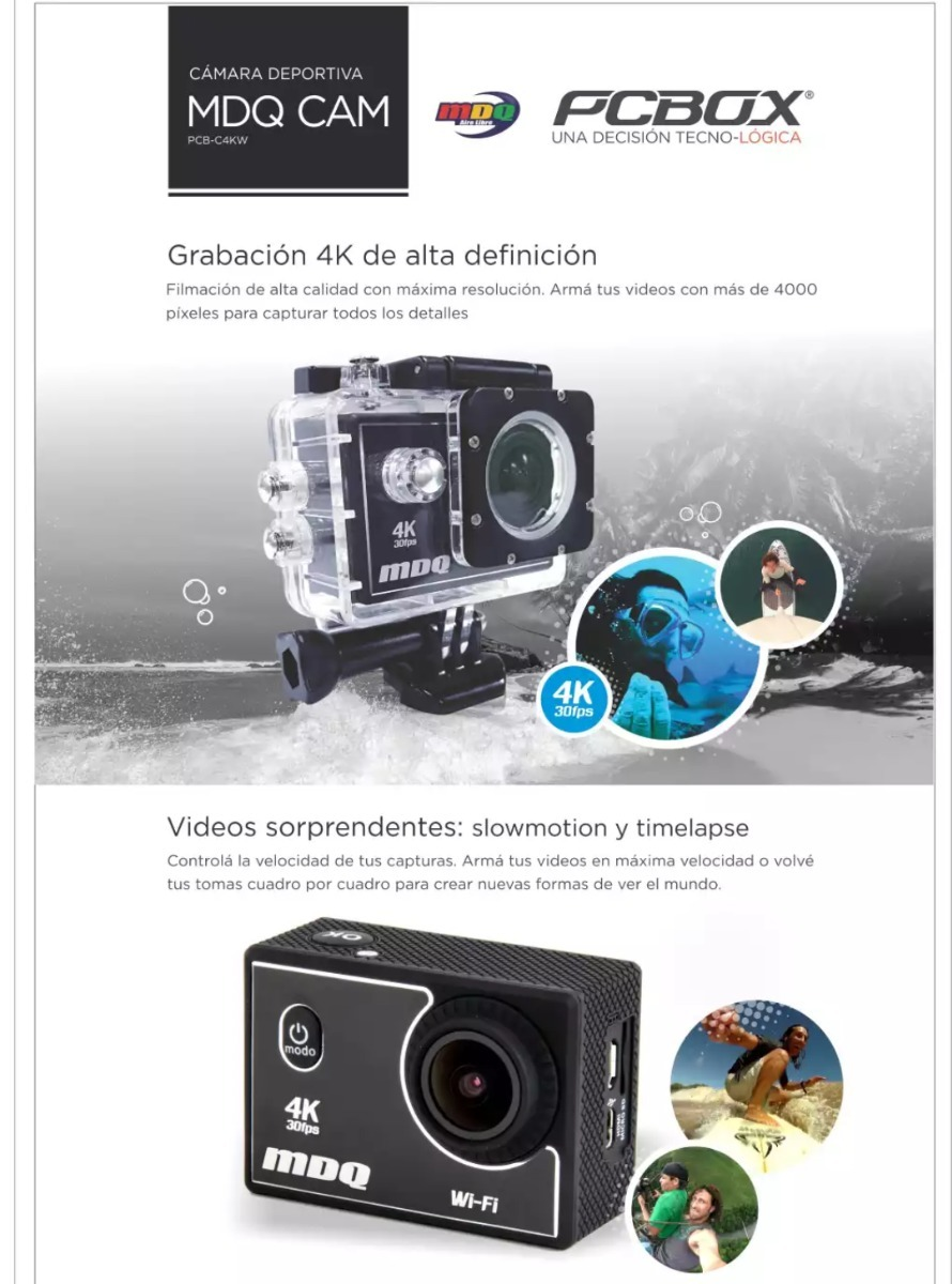 Camara Deportes Extremos 4k Pcbox Mdq Wifi Sumergible 30 Mts ...