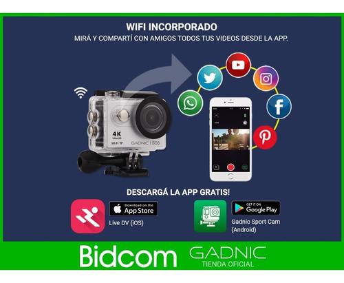 camara deportes gadnic 4k hd wifi sumergible 30m accesorios