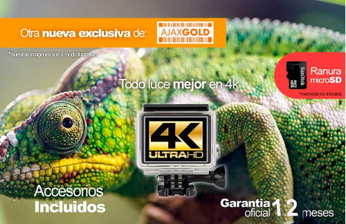 camara deportiva 4k go action pro 16mpx wifi hd + control