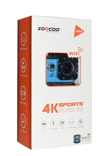cámara deportiva 4k soocoo c30r wifi control remoto dashcam