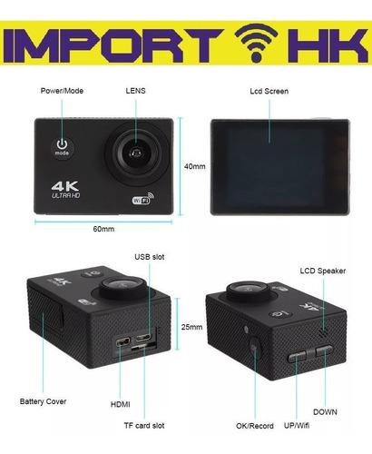 camara deportiva 4k tipo go pro wifi sumergible 16mp microsd