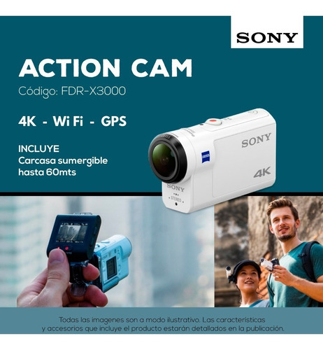 cámara deportiva action cam fdr-x3000 4k wifi gps sony pce