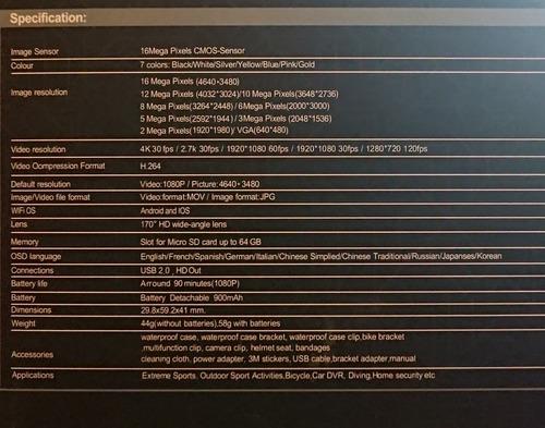 camara deportiva de acción 4k no go pro wifi 12mp sumergible