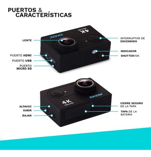 camara deportiva eken® h9r 20mp 4k ultra hd 30fps sumergible